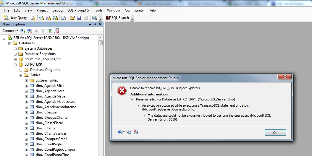 Erro sql erro ao renomear banco de dados sql microsoft sql server sql erro 5030 renomear bd ccuart Choice Image